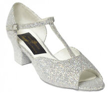 NEW Girls/ Ladies Silver Glitter Ballroom Latin Salsa Dance Shoes Sandals Tango