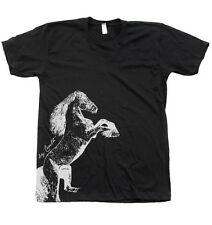 Men Unisex Horse T-shirt American Apparel Crew Neck Hand Screen Printed by Couth