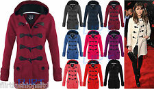Womens Fleece Jacket CHERYL Hooded Duffle Trench Coat Hood Jackets Toggle TOGGA