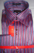 Mens Leonardi Periwinkle Blue & Red Stripe High Collar French Cuff Shirt # 002
