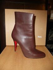 Christian Louboutin Classic PARIS Brown Leather Ankle Booties Boots Shoes $1095