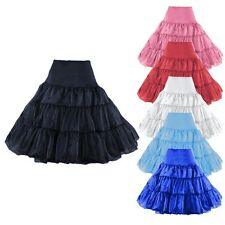 "26"" 50s Rockabilly Petticoat Tutu Skirt Red Black White Royal Blue Pink Swing"