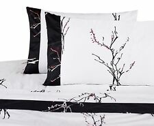Magic Branches 300TC Sheet Set Black, Red Cherry Blossoms 100% Cotton