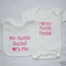 Personalised Baby Clothes, Vest and Bib Set, I ❤ my... ADD ANY NAME New Gift