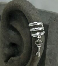 Ear Cuff - Upper Helix Cuff with Charm . Solid Sterling Silver
