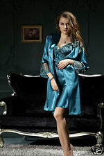 Simple New Women Lady Sexy Blue Lingerie NightDress Sleepwear Robe Pajamas 2 PCS