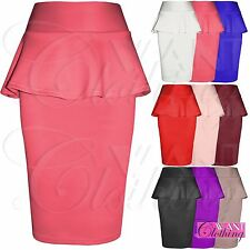 NEW LADIES BODYCON PEPLUM FRILL PENCIL SKIRTS WOMENS SCUBA SKIRT OFFICE WORK FIT