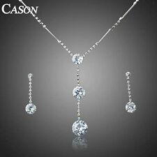 18K White Gold GP Clear Austrian Crystal Earrings Necklace Wedding Jewelry Set