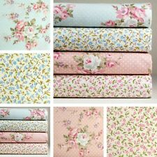 4 Fat Quarters 1 Yard 100% Cotton Fabric Blue Pink Floral Print Sewing K M-238