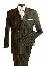 Vittorio St. Angelo Double Breasted Wide Pencil Stripe Regular Fit Suit B662SO