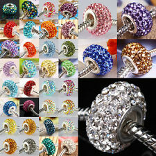 925 Sterling Silver Plain Crystal Rhinestone Beads Fit European Charms Bracelet