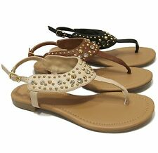 Women's T-Strap Gladiator Crystal Studs Embellishment Slingback Sandals Mitos