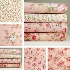 4 Fat Quarters or 1 Yard 100% Cotton Fabric Pink Floral Pattern Sewing M-254