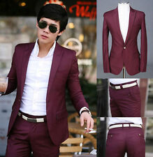 Burgundy Men's slim fit 1BTN Dress/Stylish suit(M-XL) / Straight leg Pant(29-33)