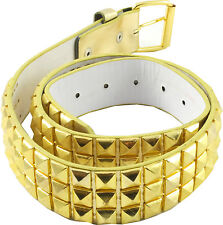 Studded Snap Belt Metallic Gold Pyramid Studs  - Multiple Sizes