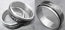 R087P Stainless Steel Spin Ring Love Heart Black You Pick Ring Size