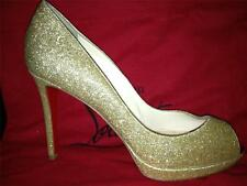 Christian Louboutin YOLANDA 100 Glitter Peep Toe Heels Shoes Pumps Gold $895