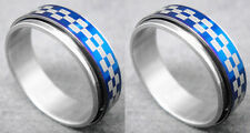 R085P Stainless Steel Spin Ring Checkerboard Blue You Pick Ring Size