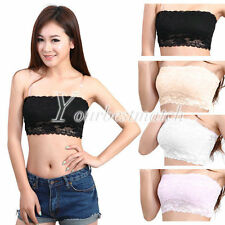 HOT SELL Women's Sexy Lace Strapless Boob Tube Top Bodycon Bandeau Bra Wholesale
