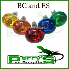 Reptile Basking Heat Lamp Bulb 60w Red Amber Yellow Blue Green R80 BC and ES