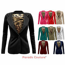 LADIES WOMENS ANIMAL LEOPARD LINING PRINTED ONE BUTTON SMART BLAZER COAT JACKET