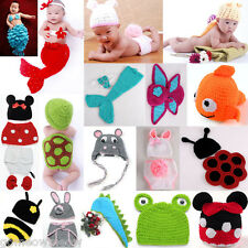Baby Toddler Unisex Costume Photography Prop Knit Crochet Beanie Animal Hats Cap