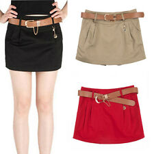 Women Chic Candy Color Mini High-Waisted Pleated Skirt Slim Casual Shorts W/Belt