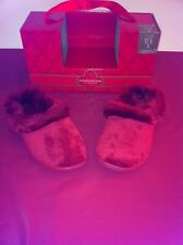 CHARTER CLUB RED SCUFF SLIPPERS WITH FAUX FUR SIZES SMALL OR MEDIUM NEW WITH BOX