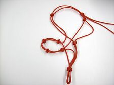 """4 knot 1/4"""" Natural Training Rope Halter (Red)"""