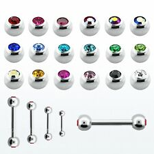 "16g 14g 1/4""- 1/2"" Double Gems Eyebrow Tragus Helix Cartilage Straight Barbell"