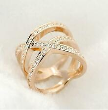 18K GP Gold Plated Swarovski Crystal Cross Hollow Wide Ring 6/7/8/9 Size