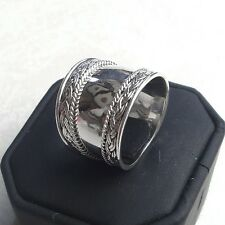 Bali 925 Sterling Silver Braided Edge Design Wide Cigar Band Ring (RG12024)