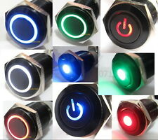 12V Black Aluminum Metal Switch Push On Start Button Latching Momentary 16/ 19mm