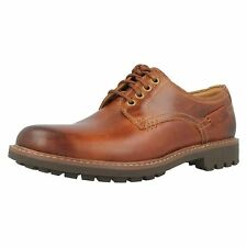Clarks Montacute Hall Dark Tan Leather Casual Lace Up Derby Shoes