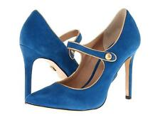 Pour La Victoire Case Dark Teal Suede mary jane heels suede ankle strap Blue NEW