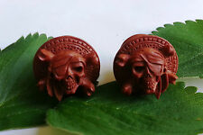 1 Pair Hand Carved Pirate Jolly Roger Skull Saba Wood Ear Plugs Tunnels Gauges