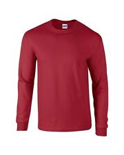 GILDAN  MENS CARDINAL RED LONGSLEEVE LONG SLEEVE SHIRT MEDIUM EXTRA LARGE