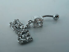 SEXY Belly ring Dangle/Bar,316L Surgical/CZ (clear/pink) Body jewellery/Piercing