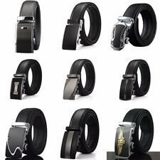Fashion Men's Belt Black Automatic Buckle Genuine Leather Waist Strap Belts 8888