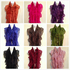 Women Fashion Ruffle Crochet Knitted Faux Fur Trimmed Infinity Scarf (10 Colors)