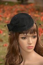 Womens Dress Vintage Fascinator Wool Pillbox Hat Party Wedding Bow Veil 4 Color