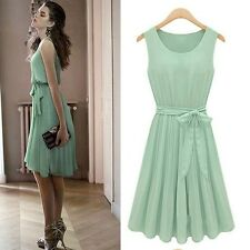 Women Pleated Chiffon Bow Belt Sleeveless Skirt Vest Casual Dress Summer Dress