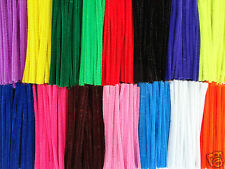 "100 x CHENILLE STEMS CRAFT PIPE CLEANERS - 10 COLOUR CHOICE - SIZE 6"" / 15CM"