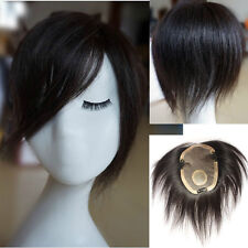 40g Handmade Lace human hair Bang Replacement Top Piece Clip In Hair Extensions