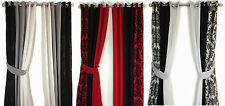 DAMASK PANEL 3 TONE RING TOP LINED PAIR EYELET WINDOW CURTAINS BLACK WHITE RED