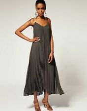 Halston Heritage Spaghetti Tie Strap Pleated Ankle Long Dress Musk Brown Green