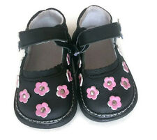 NEW 100% Genuine Leather girls 1-4yrs black&pink shoes baby toddler kids child