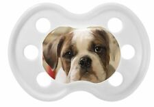 100% UNIQUE PERSONALISED DUMMY/PACIFIER/SOOTHER, 3 COLOURS, BULLDOG