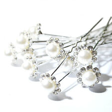 10 / 20 Bridal Wedding Prom Crystal Diamante Pearl Flower Hair Pins Clips Grips