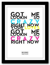 BEYONCE - Crazy In Love  -  song lyric poster art typography print - 4 sizes